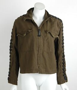 8c8f4ab767 Free People Faye Military Lace-Up Jacket Spread Collar Zip Closure ...