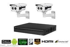 Videoüberwachung Komplett SET mit 2x HDCVI Außen Kameras, Rekorder, 2xKabel, 2TB