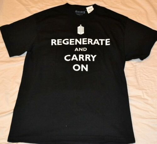 "Doctir Who /""Regenerate and Carry On/""  Large Adult T-Shirt Officially Licensed"