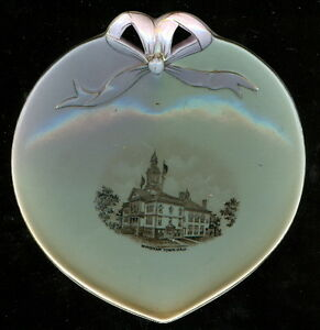 Windham-New-Hampshire-Pottery-Keene-NH-Souvenir-China-Heart-Dish-Town-Hall