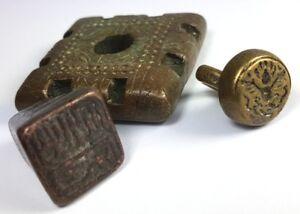 Aus Einer Sammlung Asiatika Um 1880-1890 Al656 Ungleiche Leistung 3 Bronze Teile