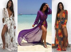 d0ab848f4043 Detalles de Mujer Playa Piscina Ropa de Fiesta Tiras Split Vestido Falda  Larga Maxi Kimono