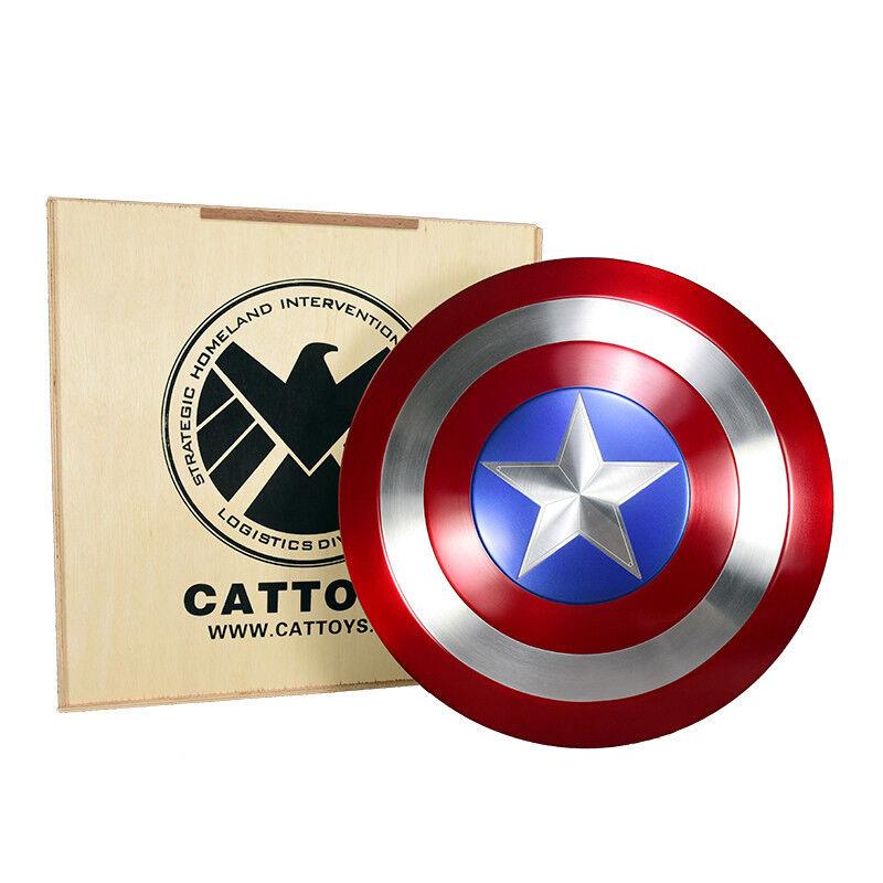 1  1 Captain America Metal Shield Repilica tillverkad av aluminium Cosspela Prop trälåda