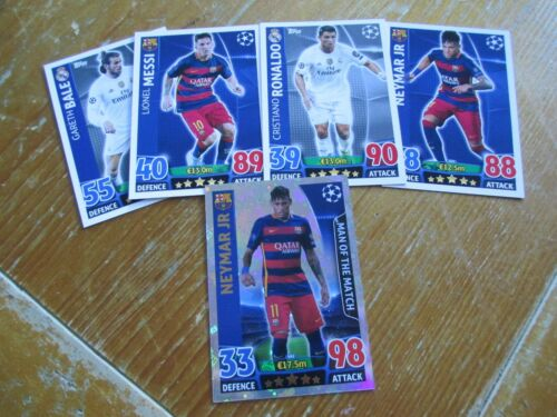 Match Attax 2015//16 15//16 elija Neymar Messi ataque Campeones de RONALDO BALE tarjeta