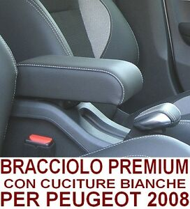 Bracciolo PEUGEOT 2008 (2013-2019) eco pelle nera+cuciture bianche-MADE IN ITALY