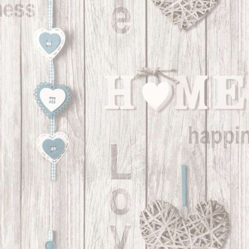 FINE DECOR FD41719 NEW SHABBY CHIC BLUE LOVE YOUR HOME WALLPAPER