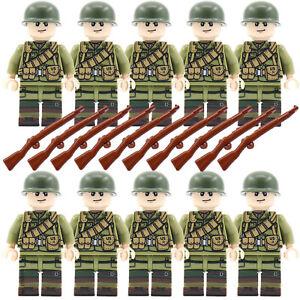 WW2 armée militaire des soldats américains + armes Mini Figure American Toy est compatible avec LEGO