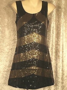 1920-039-s-or-1960-039-s-all-over-2-toned-Striped-Sequin-A-line-Shift-Clubwear-Dresses-M