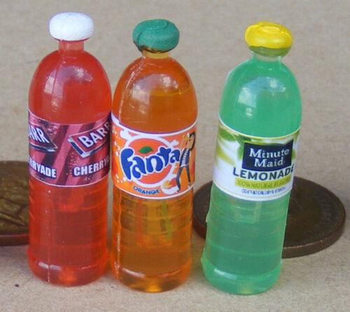 1:12 Scale 3 Mixed Bottles Of Fruit Pop Tumdee Dolls House Drink Juice Accessory
