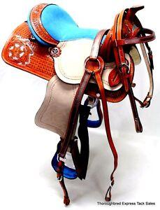 """D.A. Brand 10"""" turquoise avec outils selle Poney Set Bridle Breast collar Horse Tack-afficher le titre d`origine 0HR5Tk6g-07165325-824472367"""