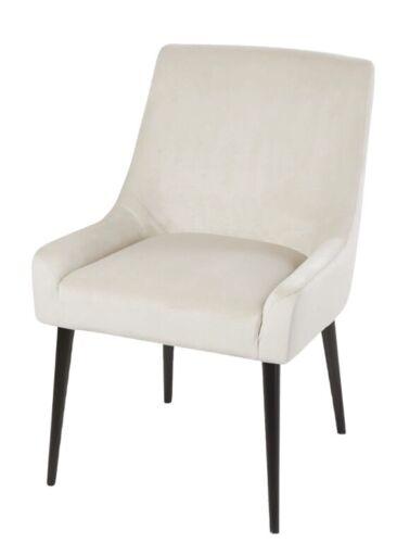 Maisons Du Monde - Pair Otto Ecru Velvet Dining Accent Chair NIB org £195 ea