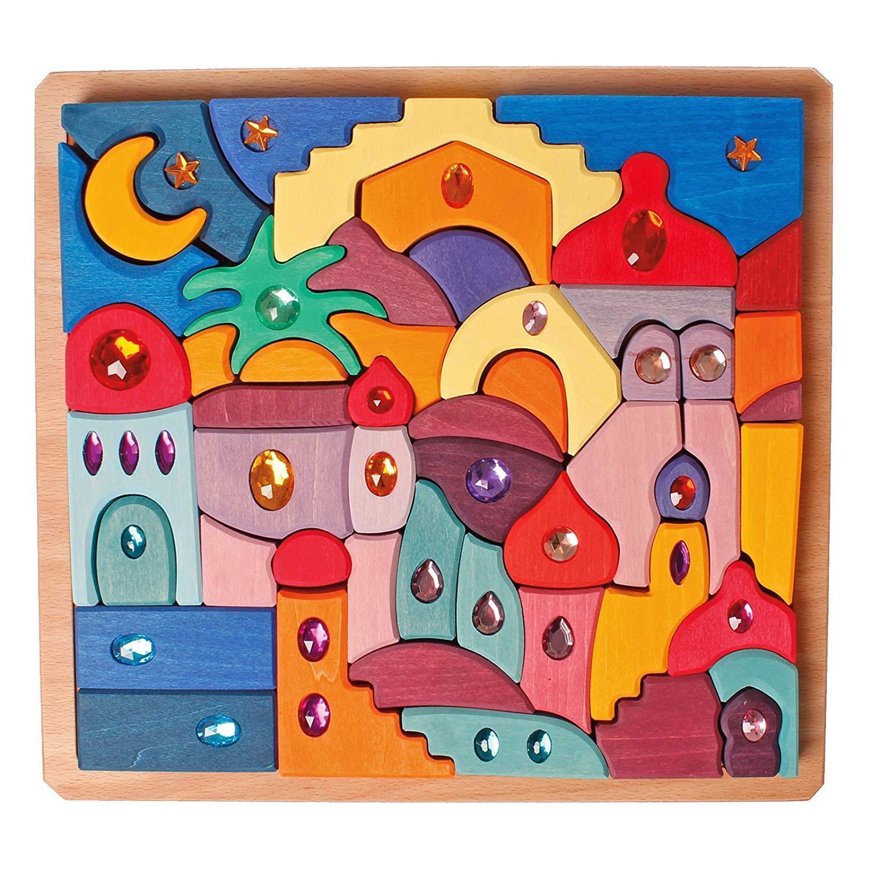 Grimm's Gioco e Legno Design 43088 Glitzerlegespiel Morgenland Nuovo
