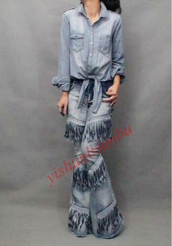 Womens Chic Cowboy Pants Motorcycle Jeans Stretch Tassel Bell-bottom Trousers Sz