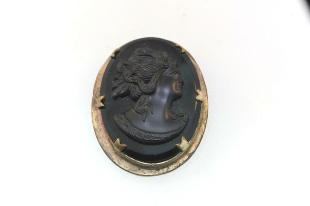 CIVIL WAR ERA VICTORIAN MOURNING MOLDED VULCANITE OVAL EMBOSSED CAMEO BROOCH