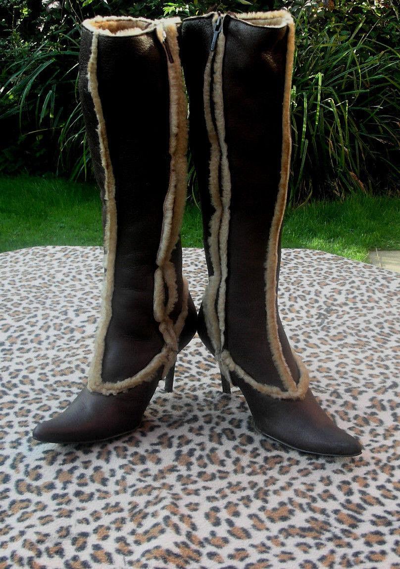 Zara Marrón Piel de Oveja Real Tacón botas 37 Talla Uk 4 EU 37 botas 479360