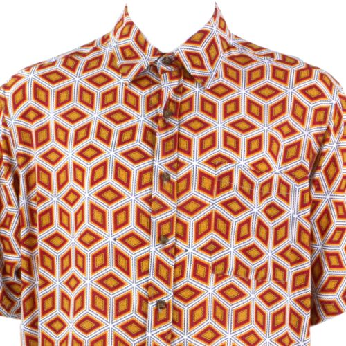 Mens Loud Shirt Retro Psychedelic Festival Party Funky Abstract Orange REGULAR