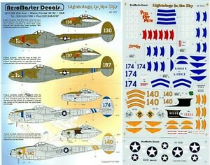 """AEROMASTER 48-351 1//48 DECALS P-38 /""""LIGHTNINGS IN THE SKY PART 3/"""""""