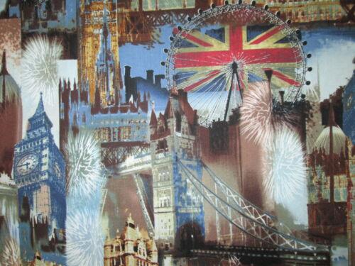 BRITISH LONDON CITY UK SITES ROYAL WEDDING BRIGHT BLUE COTTON FABRIC BTHY