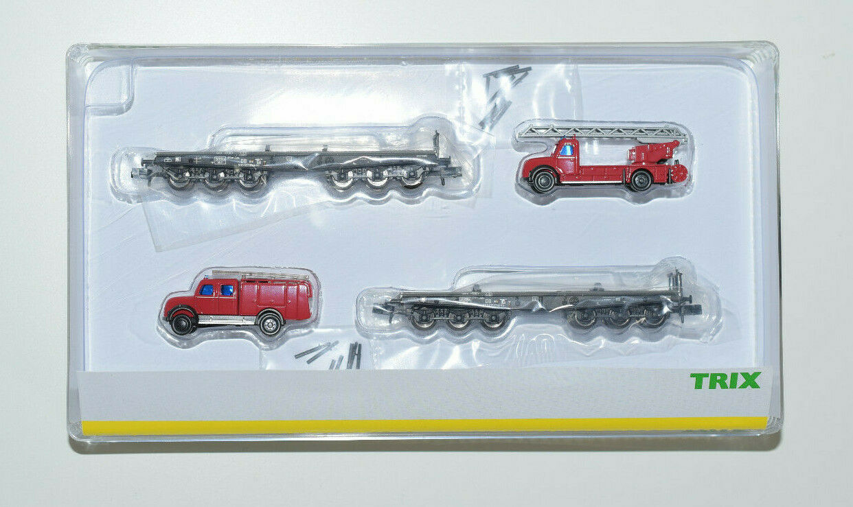 Minitrix pista N-wagenset  bomberos  con pesados camiones Art 15506 q120