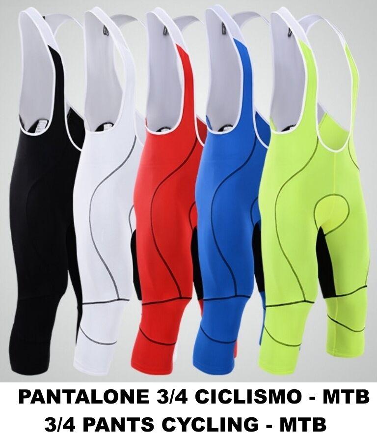 PANTALONI 3 4 MTB CICLISMO BICI CICLISMO FONDELLO GEL 3D PADS PANTS CICLYNG 3 4