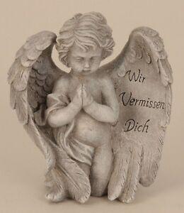 Engel-mit-Spruch-auf-Fluegel-19-5-cm-Grabschmuck-Grabdeko-Grabstein-Gedenkstein