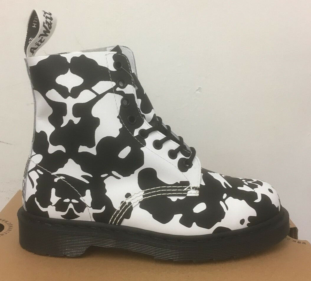 DR. MARTENS PASCAL BLACK+WEISS INK BLOT BACKHAND  LEATHER  BOOTS SIZE UK 3