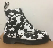 DR. MARTENS PASCAL BLACK+WHITE INK BLOT BACKHAND  LEATHER  BOOTS SIZE UK 8