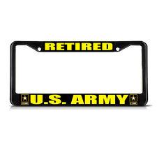 RETIRED U.S. ARMY MILITARY Black Metal Heavy License Plate Frame Tag Border