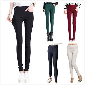 New-Women-Full-Length-Stretch-Leggings-Slim-High-Waist-Trouser-Size-8-10-12-14