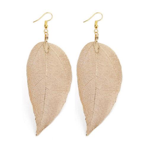 Irregular naturelle unique real leaf Pendants D/'oreilles Bohémien Long Big boho Earrings