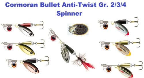 Angeln Cormoran Bullet Anti-Twist Weitwurf Spinner Blinker Gr 2//3//4 Farbe wählb