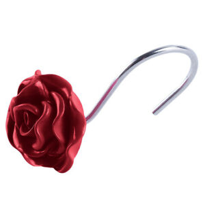 New-Decorative-Rose-Flower-Resin-Floral-Rolling-Shower-Curtain-Hooks-Rings-WE