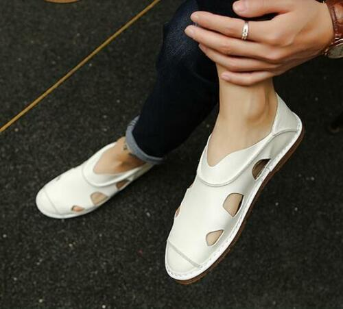 New Mens summer pull on sandals hollow up leather flat lazy person shoes F809