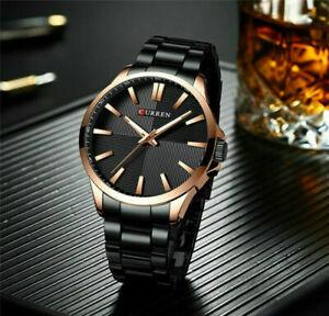 CURREN-Herren-Sport-Uhr-Edelstahl-Schwarz-Gold-Quarzuhr-Armbanduhr-Wasserdi-P5X4
