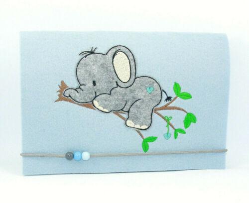 Windeltasche • Wickeltasche • Elefant Junge /& Mädchen • Handarbeit • Filz blau