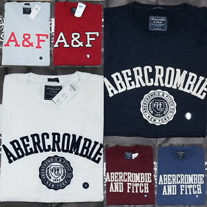 New-2018-Abercrombie-amp-Fitch-Men-Heritage-Applique-Logo-Graphic-Tee-T-Shirt-NWT