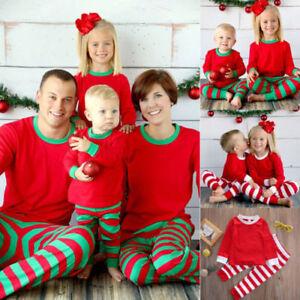 46255e5222 Image is loading Family-Matching-Christmas-Stripe-Pajamas-Set-Men-Women-