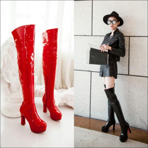 Europa Overkneestiefel Damenschuhe Boots Womens Synthetik Lackleder High Heels