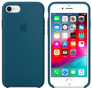 iPhone-8-7-SE-2020-4-7-Apple-Echt-Original-Silikon-Schutz-Huelle-Kosmos-blau