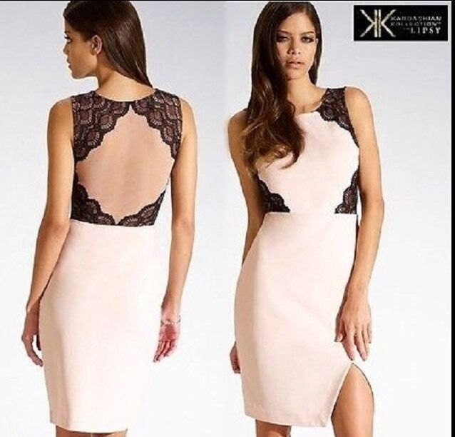 BNWT   Kardashian Kollection    At LIPSY Size 16 NUDE LACE DETAIL WIGGLE DRESS