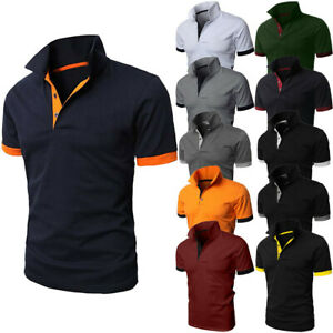 Men-039-s-Patchwork-Shirt-Double-Color-Standing-Collar-T-Shirts-Top-Blouses-US