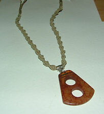 TAPERED BROWN JADE PENDANT NECKLACE ON NATURAL COTTON MACRAME CORD