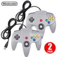 2 Pack Gray Nintendo 64 N64 Classic Wired Usb Controller Joypad For Pc & Mac Us