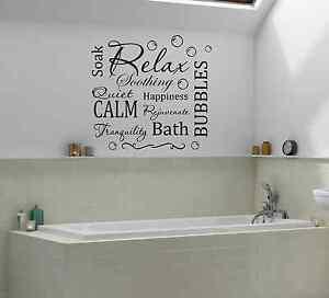 Adhesivos Baño | Relax Calm Bano Burbujas Frase Pared Adhesivo Adhesivos De Pared