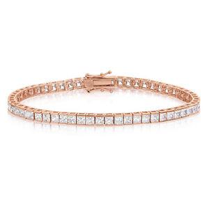 Sterling-Silver-Rose-Gold-Plated-CZ-Tennis-Bracelet-Square-Princess-Cut-3x3mm