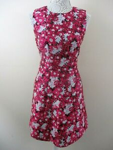 Warehouse-jacquard-dress-pink-floral-size-12-bnwt-tapestry-feel-pretty-smart