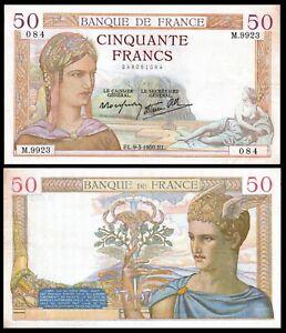 FRANCE-50-Francs-1939-Banknote-Note-P-85-CERES