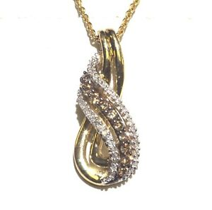 925-sterling-silver-gold-plated-33ct-brown-white-diamond-pendant-necklace-3-4g