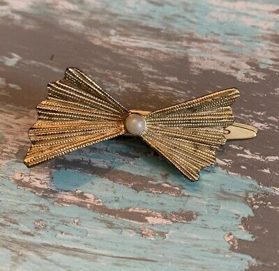 Mid Century 1960s 60s Curved Gold Tone Wedding Jewelry Golden Off White Imitation Pearl Faux Pearl Tie Clip Vintage Tie Clip