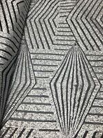 Silver Back Geometric Designer Bombshell Stretch Sequins Lace Sold By The Yard